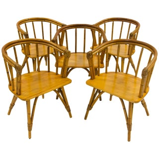 "Vintage Set of Five Captains Chairs, Heywood Wakefield ""Ashcraft"" Line For Sale"