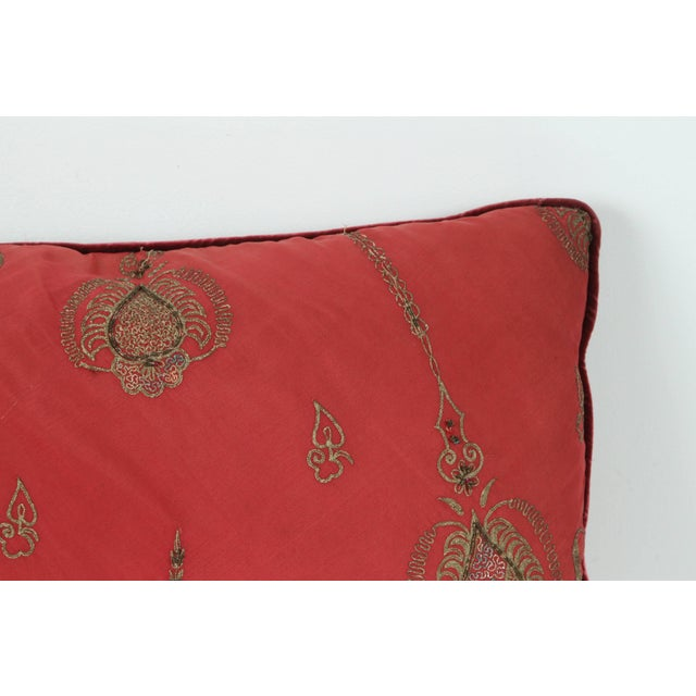 Pair of Antique Turkish Ottoman Silk Pillows With Metallic Threads For Sale - Image 9 of 13