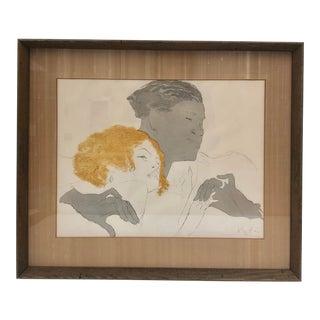 """1920s Lithograph """"Portrait of a Couple"""" Famous Piece For Sale"""