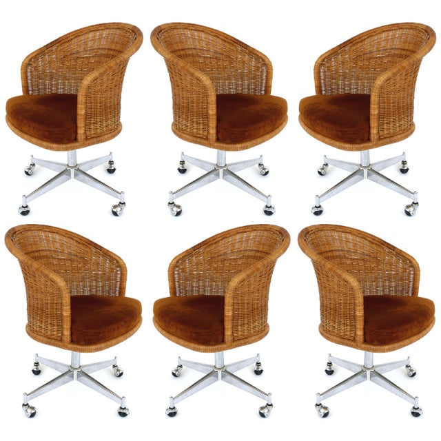 1960s Mid-Century Modern Daystrom Rattan & Stainless Steel Swivel Chairs - Set of 6 For Sale - Image 13 of 13