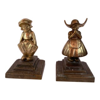 Antique Frankart Brass Dutch Boy & Girl Bookends - a Pair For Sale