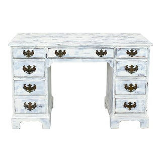 Antique White Coastal Campaign Style Desk For Sale