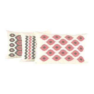 Watermelon and Chocolate Ikat Lumbar Linen Pillow Set- 3 Pieces For Sale