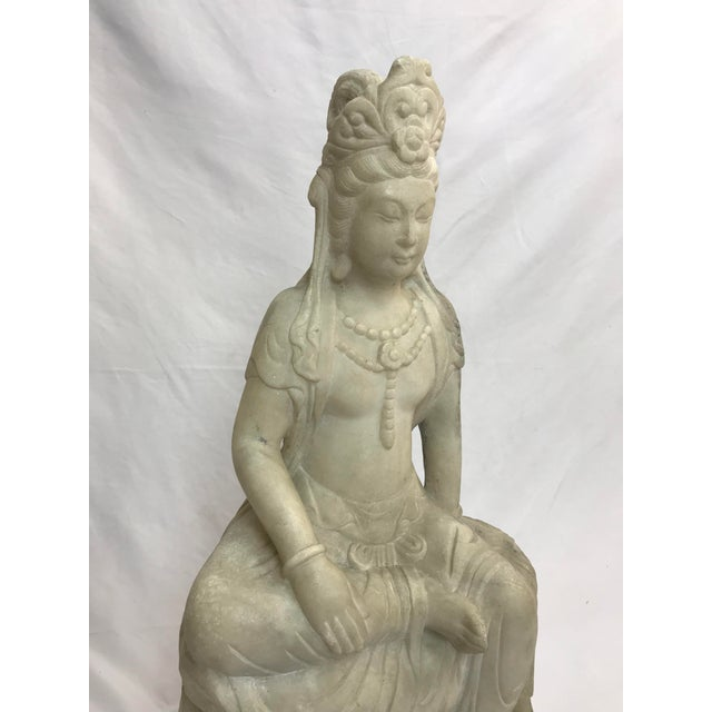 Stone Guanyin / Guan Yin Bodhisattva Marble Goddess of Mercy Seated Buddha Statue For Sale - Image 7 of 12