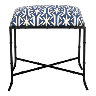 Black Metal Faux Bamboo Newly Upholstered Bench For Sale