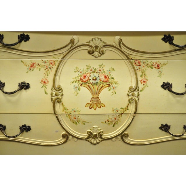 Cream Floral Painted Marble Top Commode For Sale - Image 4 of 11