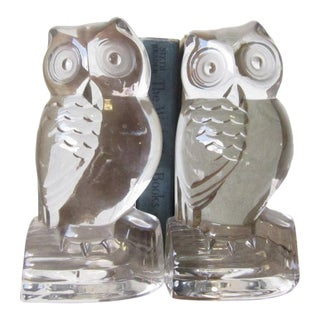 1960s Mid-Century Modern Matching Glass Owl Bookends - a Pair