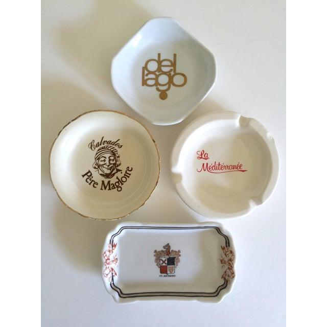 Boho Chic Vintage Mid Century International Hotel & Restaurant Ceramic Ashtrays - Set of 4 For Sale - Image 3 of 12