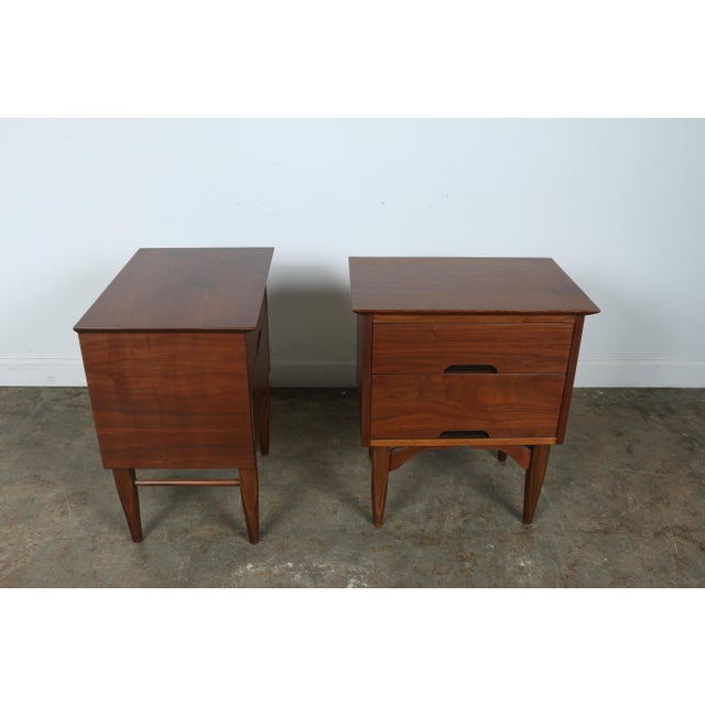 Mid-Century Walnut Nightstands - A Pair - Image 10 of 11