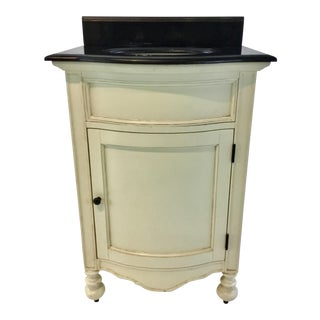 Ambella Home Transitional Black Stone and Cream Wood Vanity For Sale