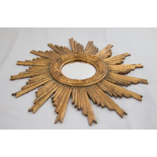 Mid Century French Carved Gilt Wood Sunburst Mirror Preview