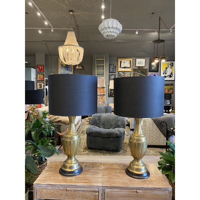 Mid-Century Modern Brass Lamps by Marbro Brass Lamps - Pair For Sale - Image 10 of 10