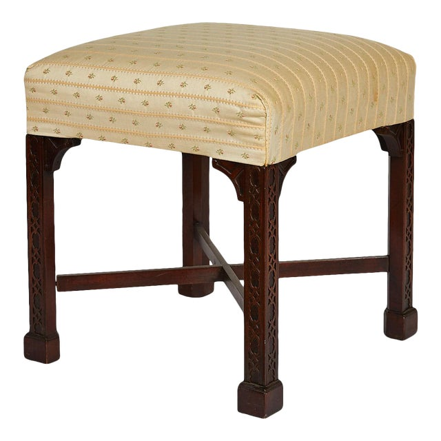 English Chinese Chippendale Style Mahogany Stool For Sale