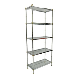 Hollywood Regency Faux Bamboo Chrome Brass Etagere For Sale