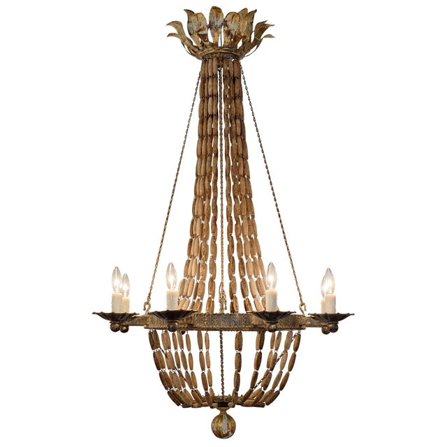 Vintage Italian Wooden Chandelier For Sale - Image 10 of 10