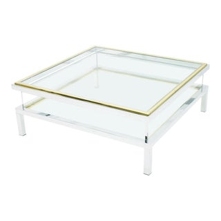 Vitrine Coffee Table With Sliding Top by Maison Jansen France 1970s For Sale