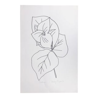 "Original Vintage 1979 Black and White Botanical ""Trillium"" Drawing Unframed on Paper Signed Betsey Tryon For Sale"