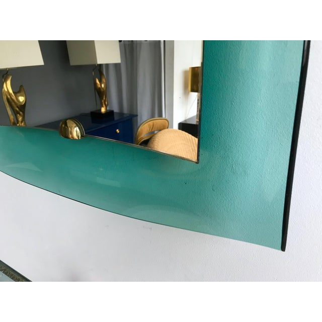 Blue Curve Glass Brass Mirror by Cristal Art, 1960s For Sale - Image 8 of 12