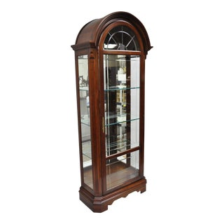 Sligh Cherry Wood & Glass Dome Top Curio China Cabinet Display Vitrine