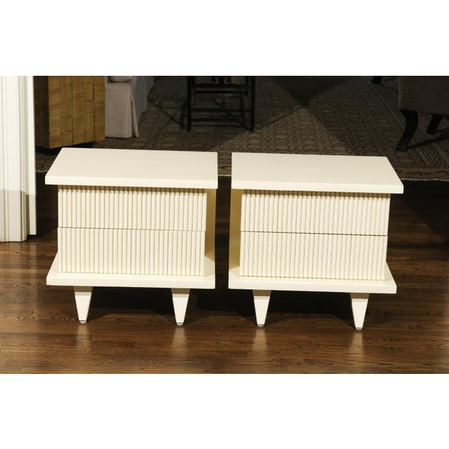 1938 Pair of Restored End Tables by Widdicomb in Cream Lacquer For Sale - Image 10 of 13