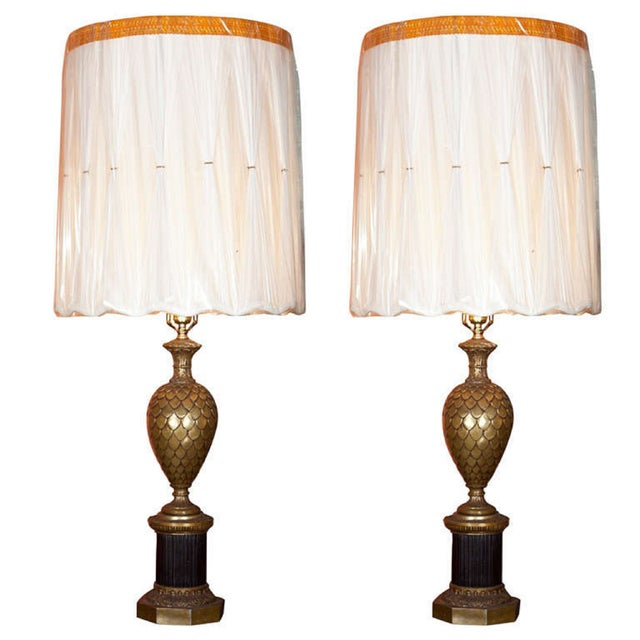 Bronze Pineapple Urn Form Table Lamps - Pair - Image 1 of 4