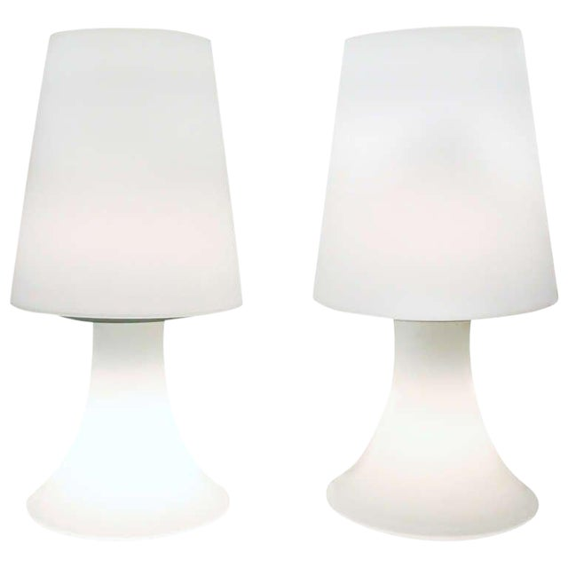 Pair of Italian White Glass Lamps and Shades by Laurel For Sale