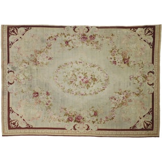 Late 19th Century French Romanticism Antique Aubusson Rug - 10′5″ × 14′10″ For Sale