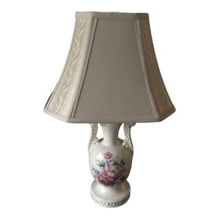 Vintage French Opaline Enamel Painted Vase Lamp For Sale