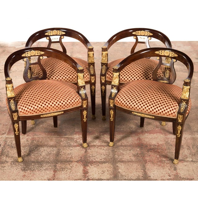 19th C. Bronze Mounted Lyre Back Armchairs - 4 - Image 2 of 10