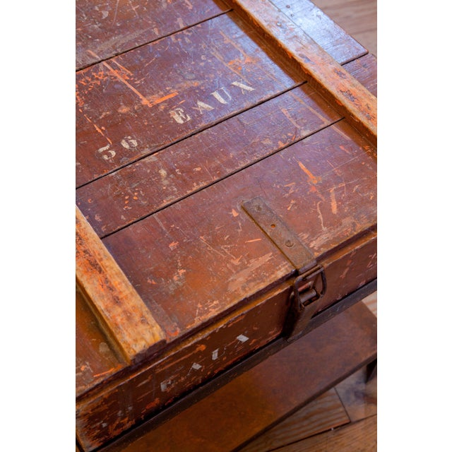 Belgian Campaign Chest as Side Table on Iron Stand, circa 1900 For Sale - Image 4 of 4