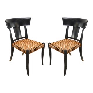 Contemporary Luca Schacchetti Oak Design Edizoni Italy Lacquered Woven Leather Chairs - a Pair For Sale