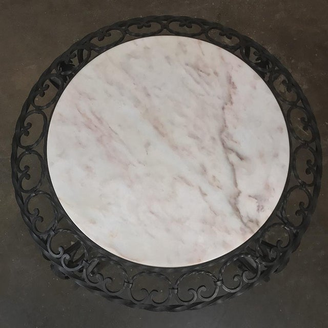 Mid-Century French Wrought Iron Marble-Top Coffee Table For Sale - Image 4 of 12