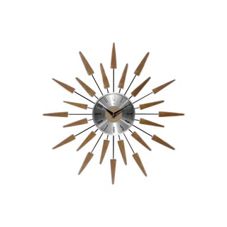 1980s Vintage Mid-Century Modern Walnut and Aluminum Wall Clock