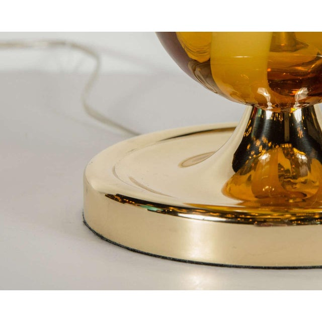 1960s Sophisticated Mid-Century Modern Murano Glass Teardrop Amber Table Lamp For Sale - Image 5 of 6