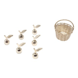 Silver Apple Place Card Holders With Bushel Basket - Set of 7 For Sale