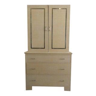 Vintage Linen Wrapped Cabinet