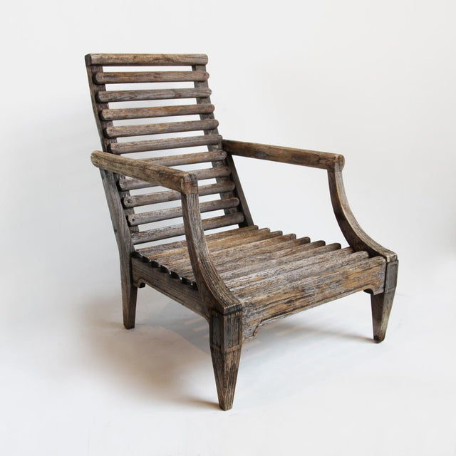 Outdoor Teak Slat Arm Chair with Ottoman - Image 2 of 3