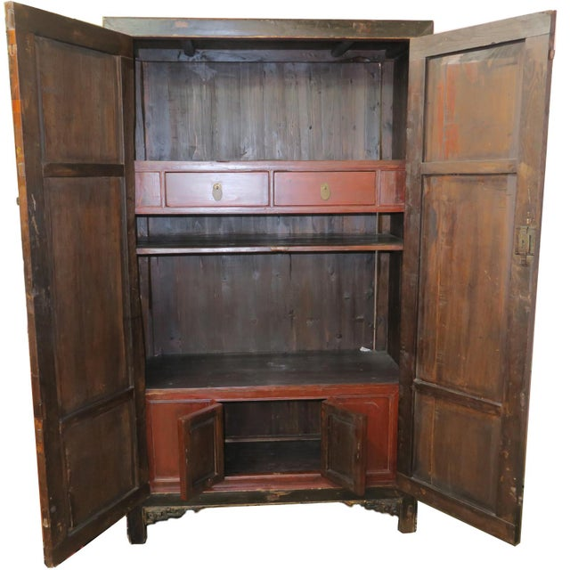 Late 19th Century Antique Chinese Black Wedding Wardrobe Cabinet With Gold Carvings For Sale - Image 5 of 12