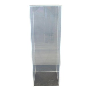 Mid Century Modern Large Square Clear Lucite Pedestal Display Stand 1970s For Sale