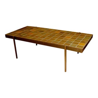 Mid-Century Bronze and Tile Coffee Table