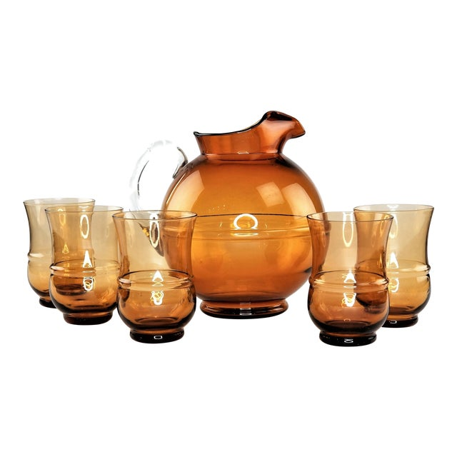 Mid-Century Modern Amber Art Glass Hand Blown Iced Tea Lemonade Set - Set of 6 For Sale