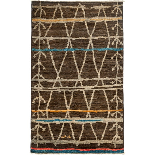 """Moroccan Hand-Knotted Rug - 4' 10"""" X 8' 0"""" - Image 1 of 3"""