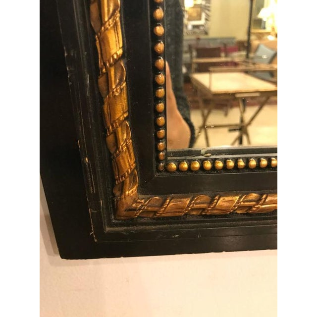 Hollywood Regency French Ebonized Neoclassical Style Wall or Console Mirror For Sale - Image 3 of 11