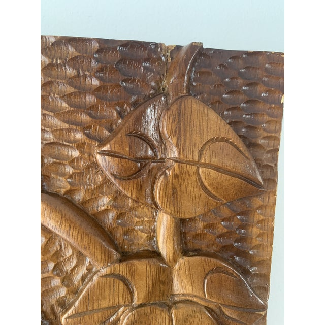 Mid-Century Modern Mid Century Phillipine Hand Carved Wood Wall Plaque For Sale - Image 3 of 9