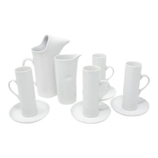 Vintage LaGardo Tackett Schmid White Porcelain Tea or Coffee Set - 10 Pieces For Sale