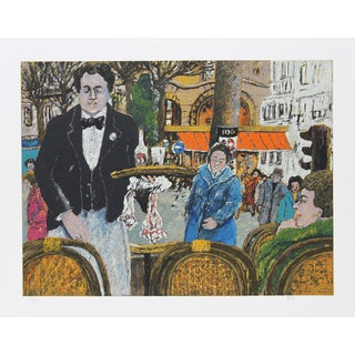 David Azuz, Waiter in Cafe Margolin, Lithograph For Sale