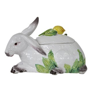 Oversized Italian Majolica Rabbit Tureen