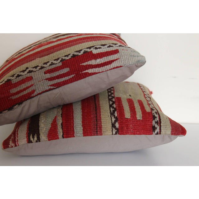 Turkish Kilim Rug Pillows - a Pair For Sale - Image 4 of 5