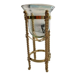 Mid-Century Twisted Brass and Glass Candle Holder For Sale