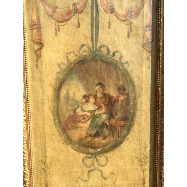 Late 19th Century 19th Century Vintage Oil Painting French 3-Panel Room Divider For Sale - Image 5 of 6